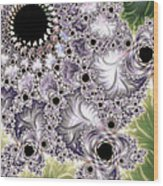 Lavender And Green Fractal Abstract  Wood Print