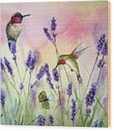 Lavender And Hummingbirds Wood Print