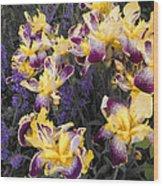 Lavender And Irises Wood Print