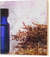 Lavender Essential Oil Bottle Wood Print by Olivier Le Queinec