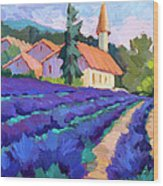 Lavender Field In St. Columne Wood Print