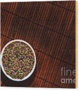 Lavender Flower Seeds In Dish Wood Print by Olivier Le Queinec
