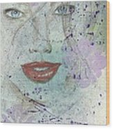 Lavender In Red Lipstick Wood Print