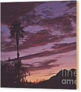 Lavender Red And Gold Sunrise Wood Print