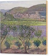 Lavender Seen Through Quince Trees Wood Print