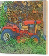 Lawn Tractor And Wood Pile Wood Print