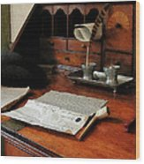 Lawyer - Quill Papers And Pipe Wood Print
