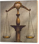 Lawyer - Scale - Fair And Just Wood Print