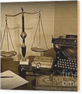 Lawyer - The Lawyer's Desk In Black And White Wood Print