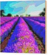 Layer Landscape Art Lavender Field Wood Print