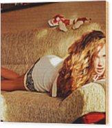 Laying On The Sofa 2 Wood Print