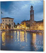 Lazise Harbor Night Scenic Wood Print