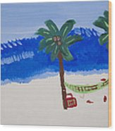 Lazy Beach Wood Print by Melissa Dawn