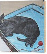 Lazy Black Cat Wood Print