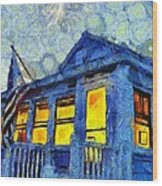 Lazy Daze Beach Cottage On Fourth Of July Wood Print