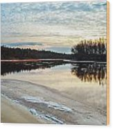 Lazy Winter River Wood Print by Michelle and John Ressler
