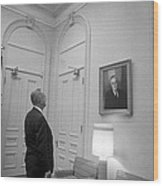 Lbj Looking At Fdr Wood Print by War Is Hell Store