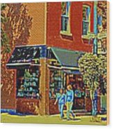 Le Fouvrac Foods Chocolates And Coffee Shop Corner Garnier And Laurier Montreal Street Scene Wood Print