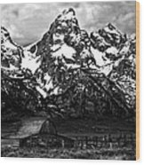 Le Grande Teton And Barn Wood Print