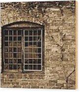 Leaded Glass Window In Sepia Wood Print