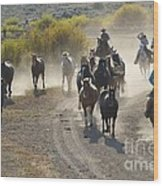 Leading Horses To Pasture Wood Print