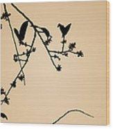 Leaf Birds Wood Print