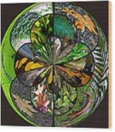 Leaf Collage Orb Wood Print