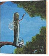 Leaf Fairy By Shawna Erback Wood Print by Shawna Erback