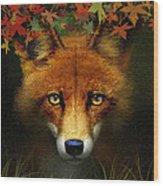 Leaf Fox Wood Print
