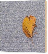 Leaf On Granite 3 Wood Print