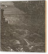 Leander Swims Over The Hellespont Wood Print by Bernard Picart