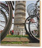 Leaning Bicycles Of Pisa Wood Print