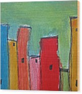 Leaning Towers Wood Print