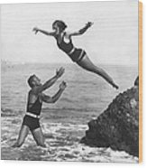 Leap Into Life Guard's Arms Wood Print