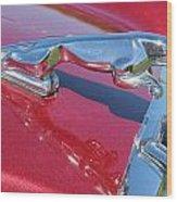 Leaper Hood Ornament On Red Jaguar Wood Print