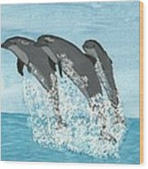 Leaping Dolphins Wood Print