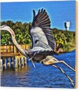 Leaping Egret Wood Print