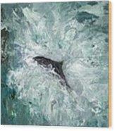 Leaping Salmon Wood Print