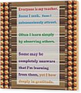Learning Observation Teacher Student Gratitude Background Designs  And Color Tones N Color Shades Av Wood Print