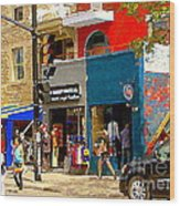 Leather Garments Cuir Monde Mont Royal Scala Pour Hommes Busy Montreal City Scene Carole Spandau  Wood Print