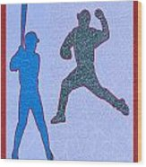 Leather Texture Art Bowler And Pitcher Base Ball Game Sports Competition Wood Print