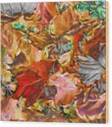 Leaves Abstraction I   Wood Print