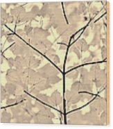 Leaves Fade To Beige Melody Wood Print by Jennie Marie Schell