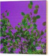 Leaves On A Purple Sky Wood Print