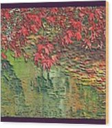 Leaves On The Creek 3 With Small Border 3 Wood Print