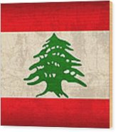 Lebanon Flag Vintage Distressed Finish Wood Print
