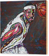 Lebron James 2 Wood Print by Maria Arango