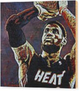 Lebron James Mvp Wood Print by Maria Arango