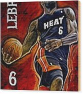 Lebron James Oil Painting-original Wood Print by Dan Troyer