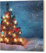 Led Christmas Lights Wood Print